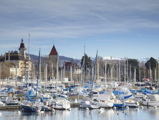 Ouchy Harbour, Lausanne, Vaud, Switzerland-Ian Trower-Photographic Print