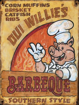 Oui Willie's BBQ Vintage Wood Sign