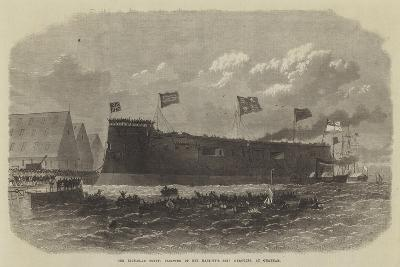 Our Iron-Clad Fleet, Floating of Her Majesty's Ship Hercules, at Chatham--Giclee Print