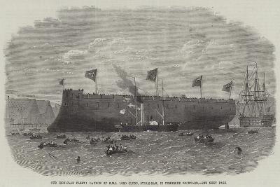 Our Iron-Clad Fleet, Launch of HMS Lord Clyde, Steam-Ram, in Pembroke Dockyard-Edwin Weedon-Giclee Print