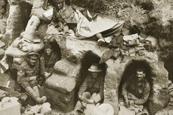 Our Men are Very Comfortable in the Old German Dug-Outs, 1916--Photographic Print