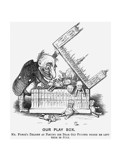 Our Play Box. Mr Punch's Delight at Finding His Dear Old Puppets Where He Left Them in July, 1865--Giclee Print