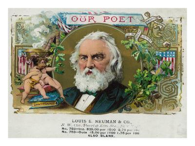 Our Poet Brand Cigar Box Label, Henry W. Longfellow-Lantern Press-Art Print