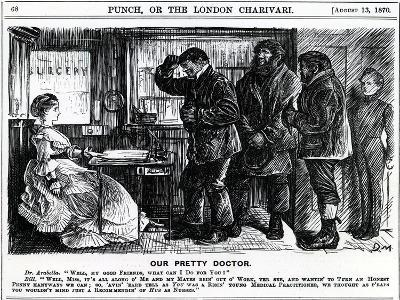 Our Pretty Doctor, Published in Punch Magazine, 1870--Giclee Print