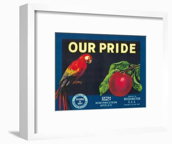 Our Pride Apple Label - Washington State-Lantern Press-Framed Art Print