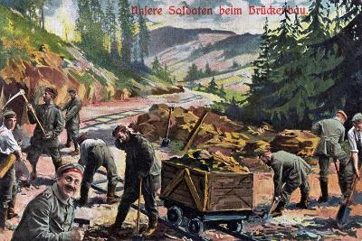 """""""Our Soldiers Building a Bridge"""", 1916--Giclee Print"""