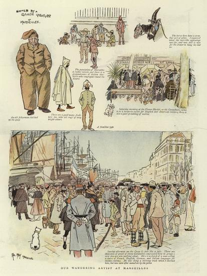 Our Wandering Artist at Marseilles-Phil May-Giclee Print