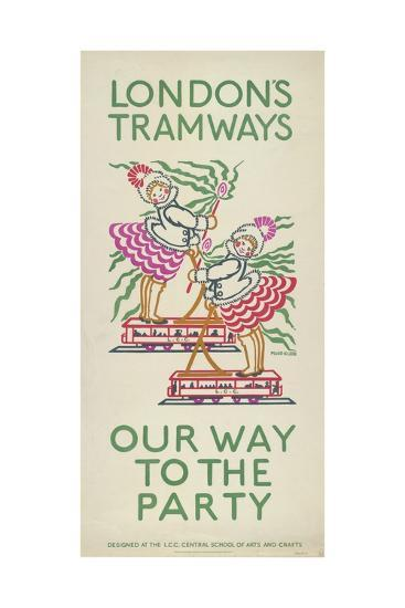 Our Way to the Party, London County Council (Lc) Tramways Poster, 1924-Maud Klein-Giclee Print