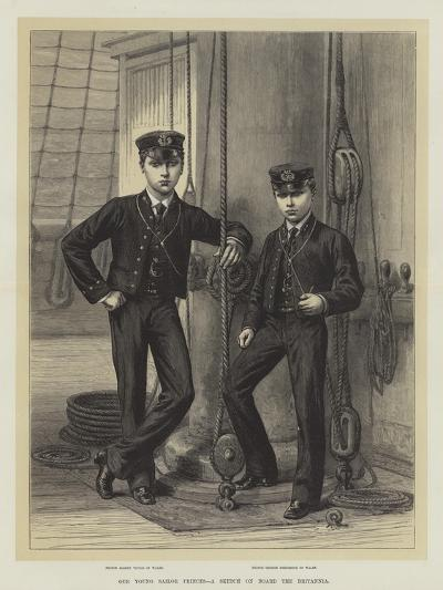 Our Young Sailor Princes, a Sketch on Board the Britannia--Giclee Print