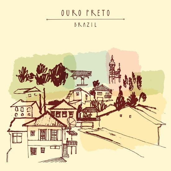 Ouro Preto, Minas Gerais, Brazil. Colorful Vintage Hand Drawn Postcard or Poster in Vector-babayuka-Art Print