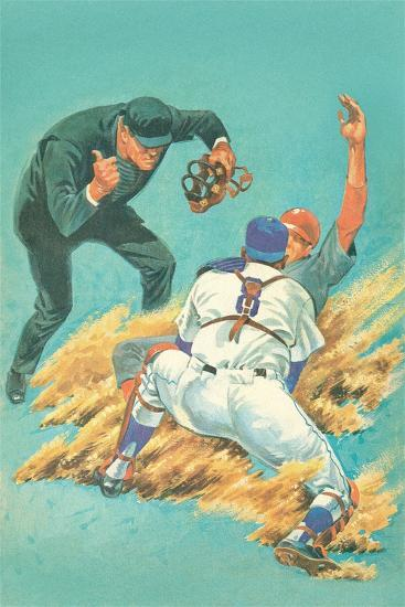 Out at Home Plate--Art Print