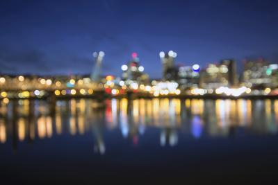 Out of Focus Portland City Skyline at Blue Hour-jpldesigns-Photographic Print