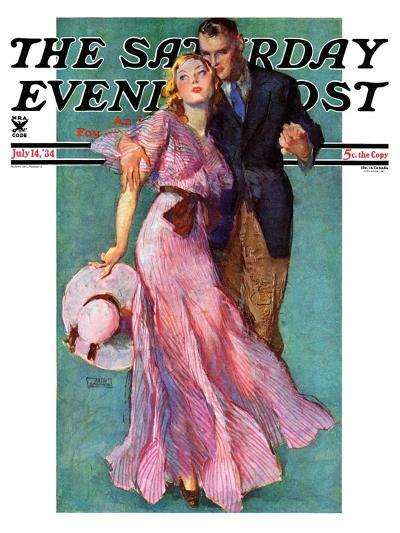 """""""Out on a Date,"""" Saturday Evening Post Cover, July 14, 1934-John LaGatta-Giclee Print"""