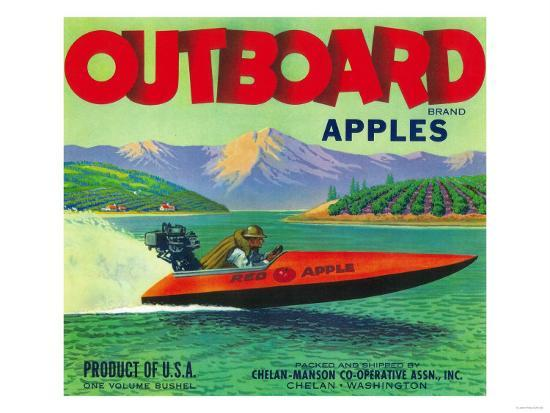 Outboard Apple Label - Chelan, WA-Lantern Press-Art Print