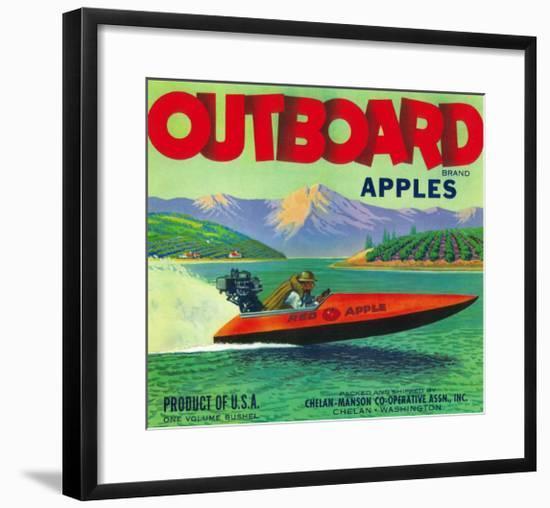 Outboard Apple Label - Chelan, WA-Lantern Press-Framed Art Print