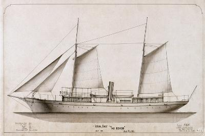 Outboard Profile Steam Yacht Au Revoir 1893-Harlan & Hollingsworth -Giclee Print