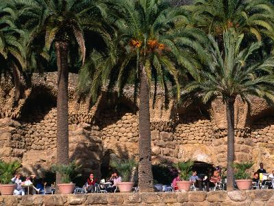 Outdoor Cafe Beneath Palm Trees in Parc Guell, Barcelona, Spain-Anders Blomqvist-Photographic Print