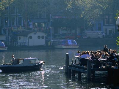 Outdoor Cafe on Canal, Amsterdam, North Holland, Netherlands-Thomas Winz-Photographic Print