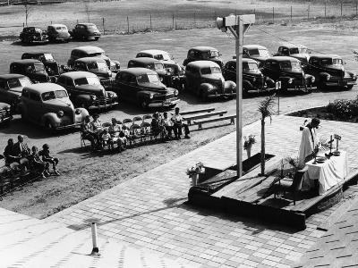 Outdoor Church Service with Cars Parked Behind, USA, 1950s--Photographic Print