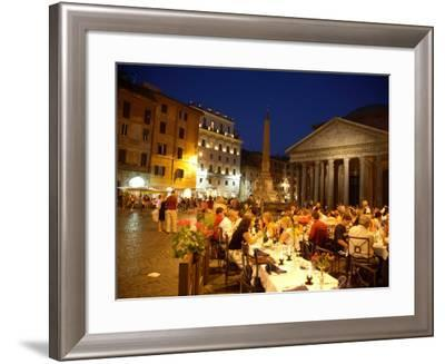 Outdoor Dining at Night, Piazza Della Rotonda, Pantheon in Background-Russell Mountford-Framed Photographic Print