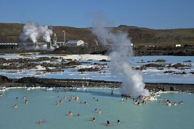 Outdoor Geothermal Swimming Pool and Power Plant at the Blue Lagoon, Iceland, Polar Regions-Peter Barritt-Photographic Print