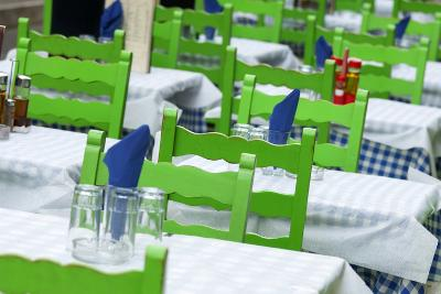 Outdoor Restaurant Tables, Corfu, Greece, Europe-Craig Easton-Photographic Print