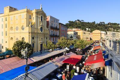 Outdoor Restaurants Set Up in Cours Saleya-Amanda Hall-Photographic Print