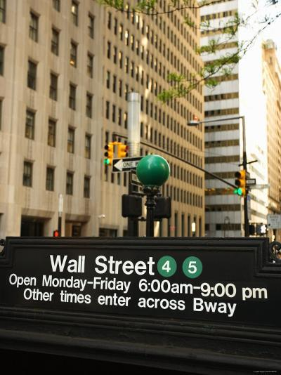 Outdoor Subway Sign for Wall Street on Street in New York City--Photographic Print