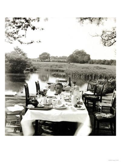 Outdoor Table Setting with Man's Head-Curtis Moffat-Giclee Print