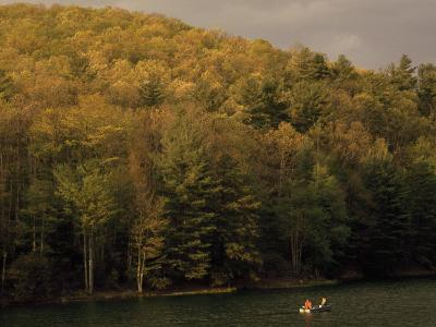 Outdoorsmen Enjoying a Day in a Small Boat on Watoga Lake-Raymond Gehman-Photographic Print