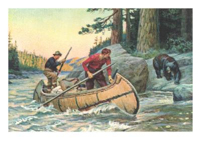 Outdoorsmen Facing Bear--Art Print
