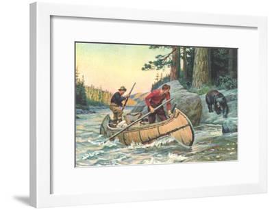 Outdoorsmen Facing Bear--Framed Art Print