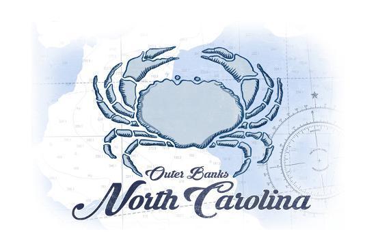 Outer Banks, North Carolina - Crab - Blue - Coastal Icon-Lantern Press-Art Print