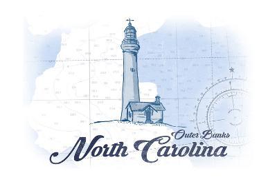Outer Banks, North Carolina - Lighthouse - Blue - Coastal Icon-Lantern Press-Art Print