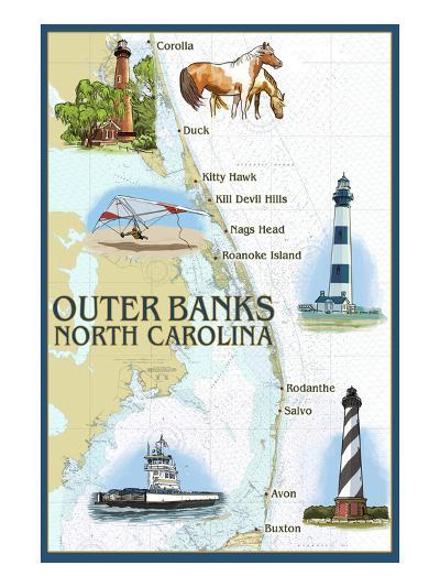 Outer Banks, North Carolina - Nautical Chart-Lantern Press-Art Print