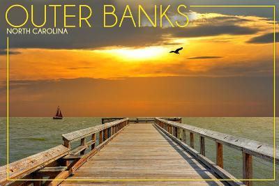 Outer Banks, North Carolina - Ocean and Sunset-Lantern Press-Art Print