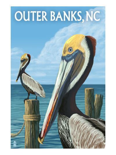 Outer Banks, North Carolina - Pelicans-Lantern Press-Art Print