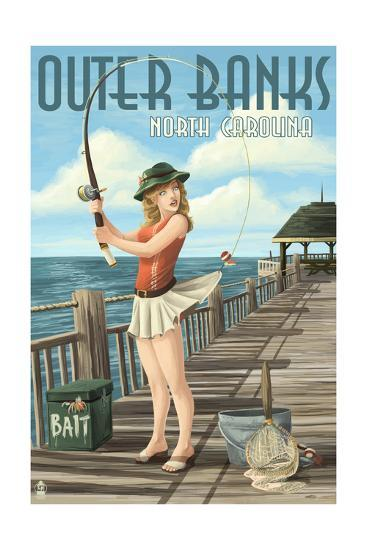 Outer Banks, North Carolina - Pinup Girl Fishing-Lantern Press-Art Print