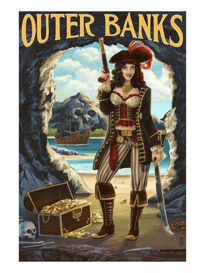 Outer Banks, North Carolina - Pirate Pinup Girl-Lantern Press-Art Print