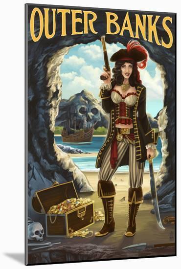 Outer Banks, North Carolina - Pirate Pinup Girl-Lantern Press-Mounted Art Print