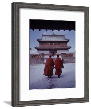 Outer Mongolia, Hidden Land Where Russia and China Square Off, Mongolian Buddhist Monastary-Howard Sochurek-Framed Premium Photographic Print