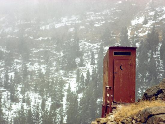 Outhouse Perches on a Hillside-Rex Stucky-Photographic Print