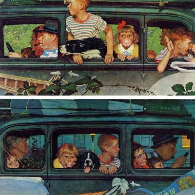 """""""Outing"""" or """"Coming and Going"""", August 30,1947-Norman Rockwell-Giclee Print"""