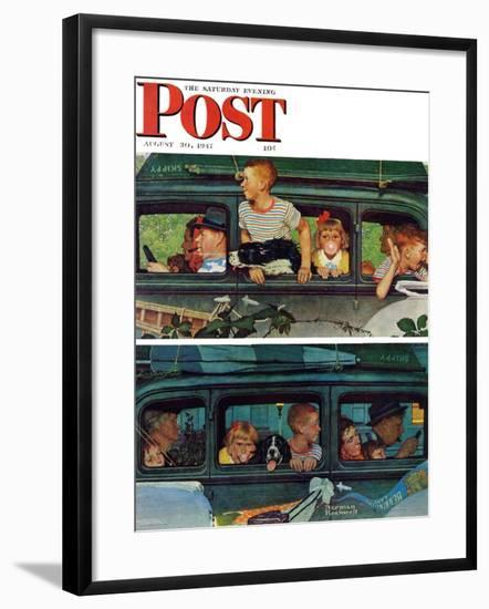 """Outing"" or ""Coming and Going"" Saturday Evening Post Cover, August 30,1947-Norman Rockwell-Framed Giclee Print"