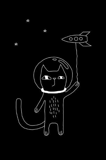 Outline Cartoon Cat Illustration with Space Cat and a Rocket. Cute Vector Black and White Cat Illus-Ekaterina Zimodro-Art Print