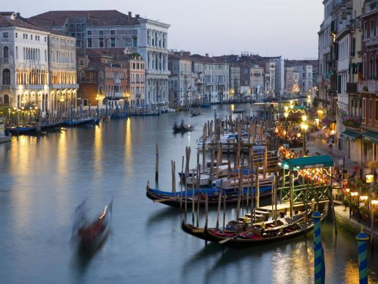 Outlook from Ponte Di Rialto Along Grand Canal at Dusk-David Tomlinson-Photographic Print