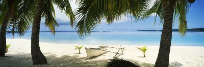 Outrigger Boat on the Beach, Aitutaki, Cook Islands--Photographic Print