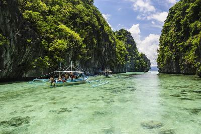 Outrigger Boats in the Crystal Clear Water in the Bacuit Archipelago, Palawan, Philippines-Michael Runkel-Photographic Print