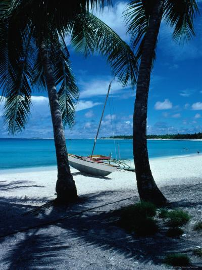 Outrigger Canoe on a Palm-Fringed Beach, Marshall Islands-Oliver Strewe-Photographic Print