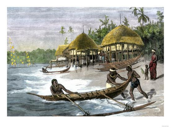 Outrigger Canoes at a Native Village in the Nicobar Islands, Bay of Bengal,  1800s Giclee Print by | Art com